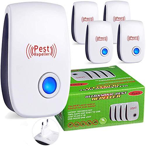 Maryan Repelente de plagas ultrasónico, 4 Paquetes, Repelente electrónico para Control de plagas en Interiores, Repelente ecológico para Mosquitos, Hormigas, arañas, Insectos, pulgas, cucarachas