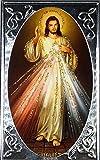 Larca Jesús Misericordioso sobre marco plateado y pie para apoyar cm 6,6 x 10,8 Grosor 1,0