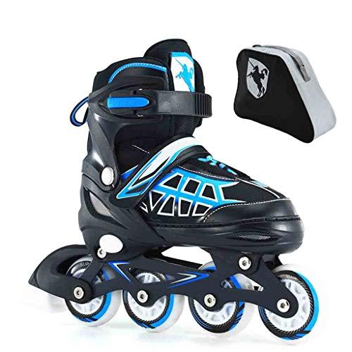 LDM Verstelbare Inline Rolschaatsen Fitness Rolschaatsen Voor Binnen En Buiten Hoogwaardige Kleine En Middelgrote Rolschaatsen Voor Volwassenen En Kinderen (Blauw/Rood)