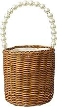 EXCEART Trawa morska tkany kosz do przechowywania z uchwytami z pereł wesele kwiaty dla dziewcząt kosz wicker na pranie ru...