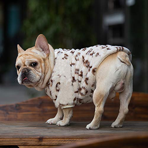 Fashion Luxury Dog Clothes Pet Clothes for Winter Leopard Print French Bulldog Soft Coat Designer Medium Dog Clothes Fur Hoodies (Color : Simple Wave Point, Size : X-Large)