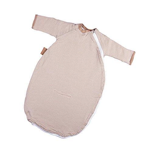 Hoppediz Baby-Schlafsack 56-62 natur gestreift mit Gurtschlitz
