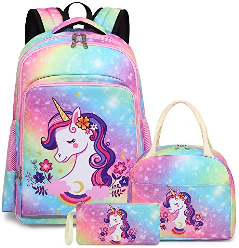 School Backpack Galaxy Teens Girls Boys Kids School Bags Bookbag with Laptop Sleeve (Unicorn 0028 Colorful)