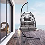 Indoor Outdoor Patio Wicker Hanging Chair Swing Egg Basket Chairs with Stand UV Resistant Cushions with Aluminum Frame 350lbs Capaticy for Patio Backyard Balcony (Dark Gray)