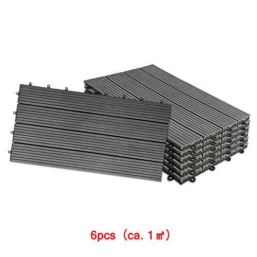 Aufun Fliesen WPC Kunststoff 30x60cm - Terrassenfliesen Balkonfliesen Klickfliese in Holz Optik Anthrazit (6 Stück fur 1m², Anthrazit)