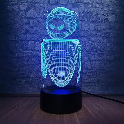 3D robot lamp LED nachtlampje met afstandsbediening, 7 kleurwisselende touch, voor kindervakantiegeschenken en speelgoedverlichting, USB-stekker