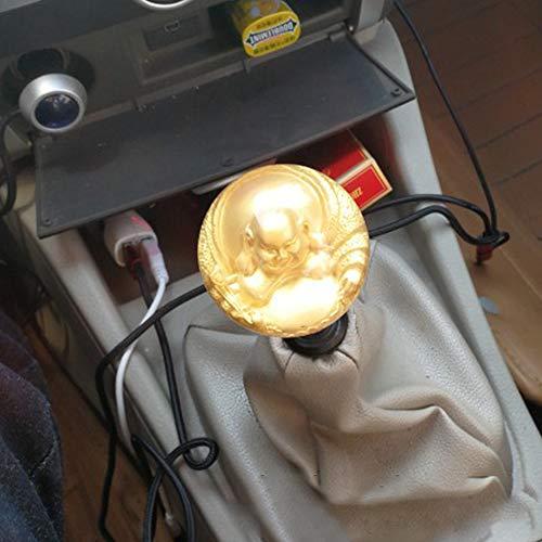 Jialuode Universal Mascot Knob Car Shift Stick Handle Transmission Shifting Head Fit for SUV, Saloon car, Sedan, Truck and Van Golden Buddha