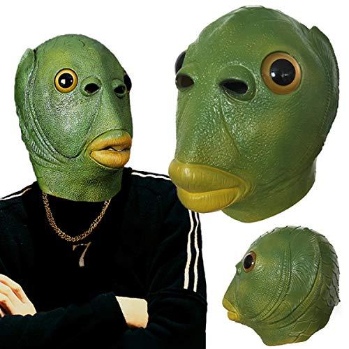 WOBU Mscara de Cabeza de pez para Disfraz de Halloween, mscara de Cabeza de pez Verde, Accesorio de Cosplay, mscaras de ltex, Sombrero para Adultos y Adolescentes