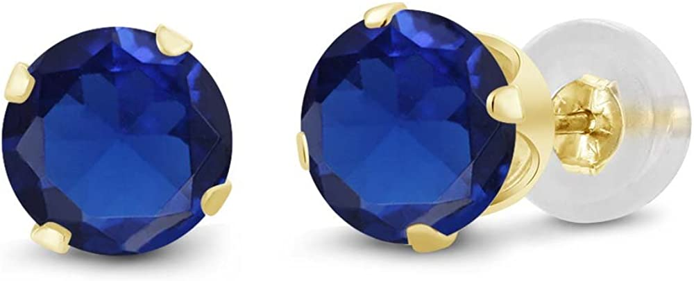 Gem Stone King 14K Yellow Gold Blue Created Sapphire Stud Women's Earrings (2.00 Ct Round 6MM)