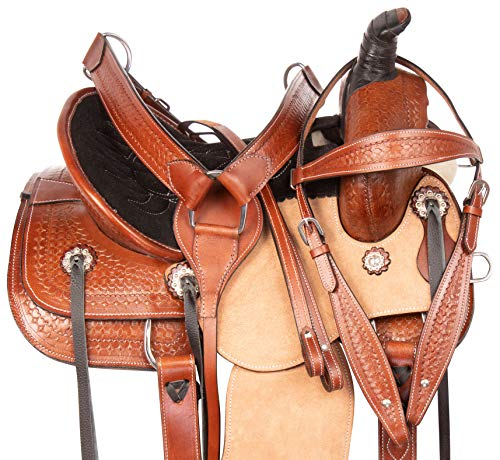 """Acerugs 12"""" 13"""" 14' Youth Kids Western Children Ranch Work Roping Leather Horse Saddle TACK Set (14)"""