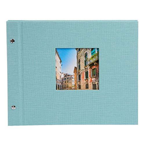goldbuch Schraubalbum, Bella Vista, Mit Fensterausschnitt für eignes Bild, 30 x 25 cm, 40 weiße Seiten, Leinen, Aqua, 26807