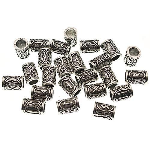 LH&BD 24pcs / Set de Viking runas Tubo Separador Perlas para la joyería Que Hace los Resultados el Collar Apto Barbas de Bolas de Pelo Hechas a Mano Pulsera