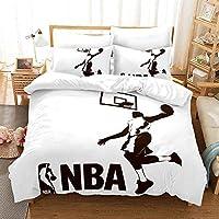 羽毛布団カバーセット3D NBAバスケットボール印刷子供大人寝具セット100%ポリエステルファイバーギフトキルトカバー(1キルトカバー+ 2つの枕カバー) C-AU Single140x210cm