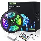 Tiras LED 5M, FOKOOS RGB Tira de luz flexible con 24 teclas IR Remote, LED Light can Cambio de color flexible para el hogar, dormitorio, vacaciones y fiesta Decoración de bricolaje en interiores