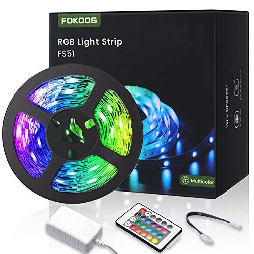 LED Streifen, FOKOOS RGB LED Strip Lichtband 5M Helles und flexibles mit 24 Tasten IR-Fernbedienung, 5050 LED Lichterkette für Zuhause, Schlafzimmer, Küche, Festival und Party Dekoration