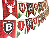 POP parties Woodland Reindeer Happy Birthday Banner Pennant Camping...
