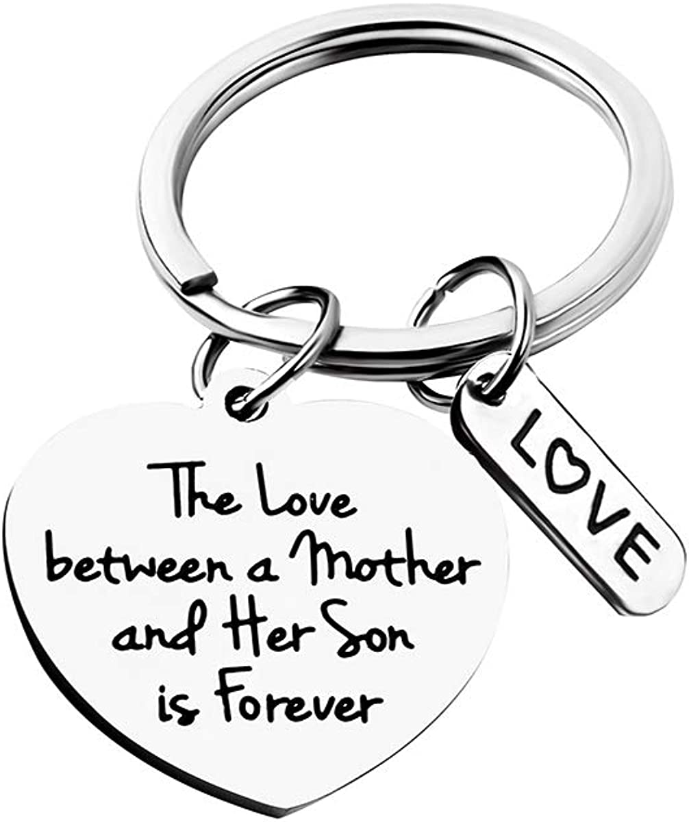 FEELMEM Mom Gifts from Son Mother Jewelry The Love Between A Mother and Son Knows No Distance Keychain for Mom Birthday Present