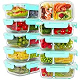 Bayco 10 Pack Glass Meal Prep Containers 2 Compartment, Glass Food Storage Containers with Lids,...