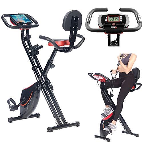 PEARL sports Ergometer: 2in1-Klapp-Heimtrainer, 2 Expander, Tablet-Halter, 2,5 kg Schwungmasse (Crosstrainer)