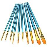 Huixindd Conjunto de Cepillo de Artista de 10 Piezas Acrílico Acuarela Pelo de Nylon Puntiagudo (Color : Blue)