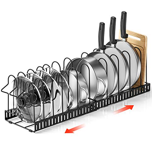 Duerer Pan Rack Organizer Extensible Pots and Pans Organizer with 4 DIY Methods 14 Non-Slip Tiers Adjustable Height and Position Black Metal Pot Pan Rack for Kitchen Cabinet Organizer and Storage