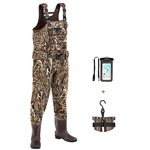 TIDEWE Chest Waders with Boots Hanger for Men, Realtree MAX5 Camo Waterproof Fishing Bootfoot Waders, Neoprene Chest Waders for Hunting with Removable Shell Holder Belt (Size 11)