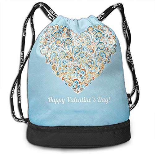 NoBrand Drawstring Backpack String Bag Casual, D4162 Happy Love Valentines Day Image With Paisley Floral Colorful Heart Design