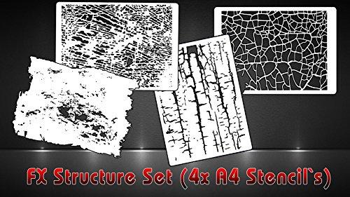 SK BRUSH Airbrush Schablonen Strukturen 4er-Set