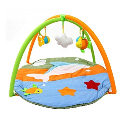 TOYMYTOY Spielmatte Baby Gym Playmatte Schutzmatte mit Rahmen Hängige Kugel Fischer Wolken für Neugeborene (Dolphin)