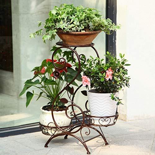 JM Fer forgé de style européen multicouche intérieur multifonctionnel salon balcon étage étagère plancher suspendu vert orchidée planteur rack (Couleur : Métalliques)