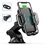 CHOETECH Wireless Car Charger, 10W Max Qi Wireless Fast Charger Car Mount USB-C Phone Holder with 36W Dual Car Charger Compatible with 12 Pro Max/12 Mini/11/Pro/Max/XS/Max/SE, Galaxy S20/Note 10/S10
