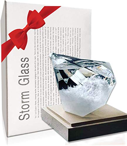 Storm Glass Weather Forecast Barometer Bottle Diamond Predictor Decor for Desktop in Home or Office with Carved Wooden Base