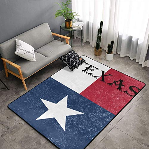 Contemporary Thick Soft Area Rug Easy to Clean Anti-Slip Living Room Texas State Flag Carpet Home Decor Floor Mat for Bedroom Dormitory Children Playroom Dinning Room