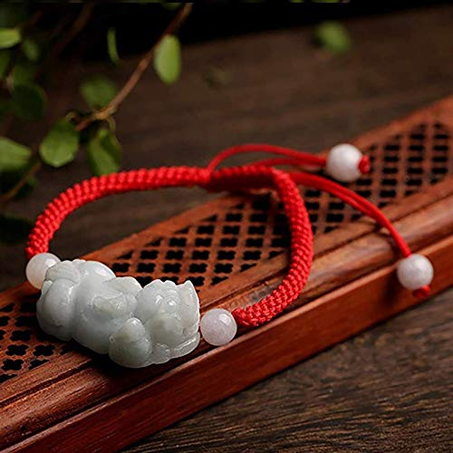 Luck Bracelet,Feng Shui Wealth Amulet Genuine Jade Pixiu Piyao Bracelet Waxy Fei Cui Jade Lucky Charm Jade Bangle Adjustable Healing Chakra Talisman Crystal Bracelet for Money Good Luck