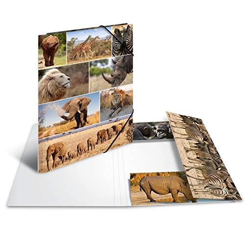 HERMA 19222 Sammelmappe DIN A3 Tiere Afrika, stabile Pappe, Ordnungsmappe mit farbig bedruckten Innenklappen und Gummizug, Zeichenmappe für Kinder, Mädchen und Jungen