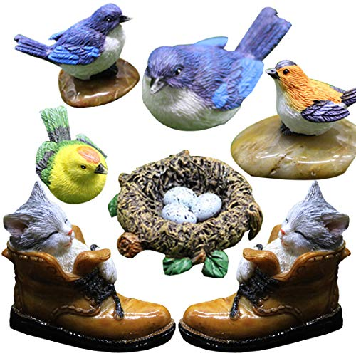 Besteme, 7 decorazioni da giardino in resina, realistiche per patio e laghetto, statuette in miniatura e decorazione da giardino (uccelli, nido di ucc