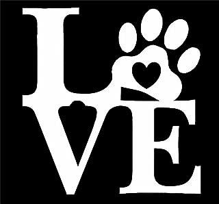 UR Impressions Love Pet Paw Print Decal Vinyl Sticker Graphics for Cars Trucks SUV Vans Walls Windows Laptop|White|5.5 inch|URI091