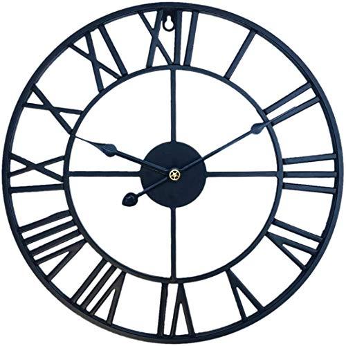GANG Hierro 40 cm Reloj de Pared Grande Número Romano Reloj de Pared Retro Redondo Hollow-Out Reloj Colgante Reloj de cocina/Negro
