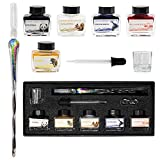 Glass Dip Pen Set With Ink (5 Colors) Glass Pen & Dip Pen Ink - Glass Fountain Pen For Calligraphy with Glass Dipping Tip & Rest - Glass Ink Pen Set With Red, Blue, Yellow, Black & White Ink
