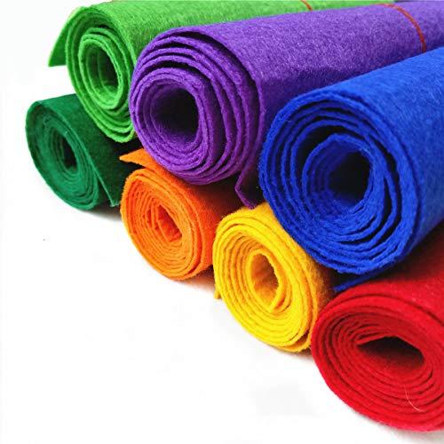 Zaione Lote de 7 rollos de tela de fieltro rígida, 8 x 35 pulgadas, no tejida, para manualidades, material de bricolaje, bolsa de decoración, costura, retazos gruesos