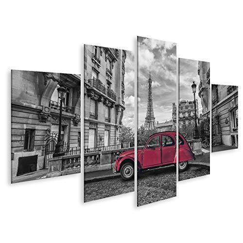 islandburner, Cuadro Cuadros Torre Eiffel en París y Coche Rojo Retro en Blanco y Negro Clave de Color Impresión Lienzo Formato Grande Cuadros Modernos QSQ