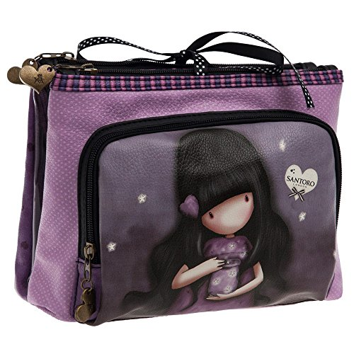 Gorjuss We Can All Shine Beauty Case da Viaggio, Poliestere, Viola, 27 cm