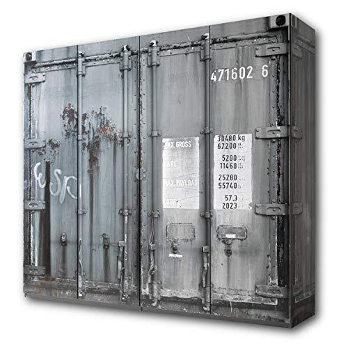 CONTAINER Stylisher Kleiderschrank 4-türig mit viel Stauraum - Vielseitiger Drehtürenschrank in Container-Optik, Digitaldruck - 237 x 224 x 59 cm (B/H/T)