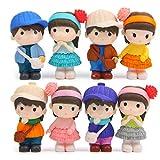VOSAREA Lot de 8 figurines miniatures pour garçons et filles - Figurine de maison de poupée - Multicolore