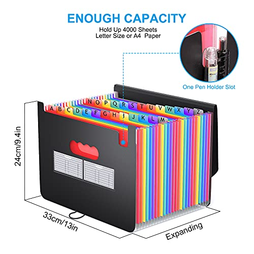 26 Pockets Accordian File Organizer, Expanding File Folder A4 Letter Size Expandable Filing Box, Accordion Document Organizer, Portable Paper Bill Receipt Plastic Folders with A-Z Alphabet Blank Tabs Photo #2