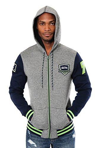Ultra Game NFL Seattle Seahawks Mens Full Zip Soft Fleece Hoodie Letterman Varsity Jacket, Team Color, Small