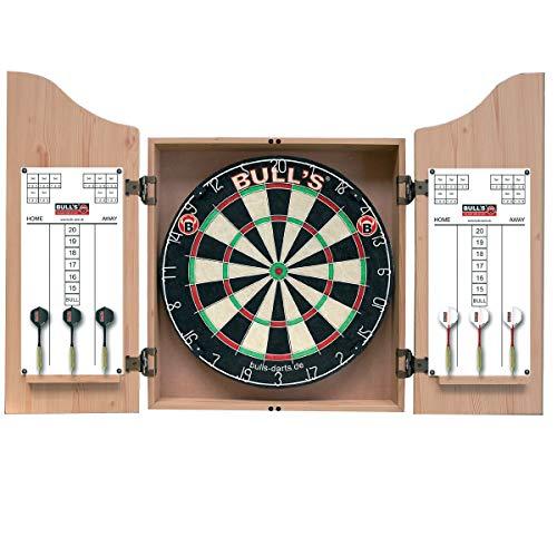 BULL'S Dartstation Dartkabinett + Bristleboard + Zubehör, Eiche hell, 55 x 68 x 11 cm