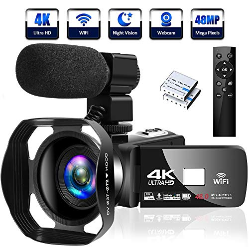 4K Camcorder Digital Camera Video Camera WiFi Vlogging Camera Camcorders with Microphone Full HD 1080P 30FPS 3 HD Touch Screen Vlog Camera for YouTube with IR Night Vision and Remote Control