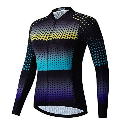 Maglia da Ciclismo a Manica Lunga compressa per Donna, Maglia da bicicletta traspirante con protezione UV Maglia da Ciclismo estiva MTB ad asciugatura rapida con Tasche