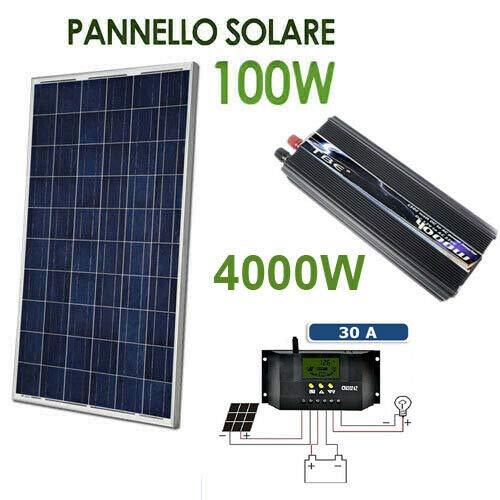 Kit Fotovoltaico 1 Kw Giornaliero Pwm Inverter 4000w Isola Solare Pannello 100 W